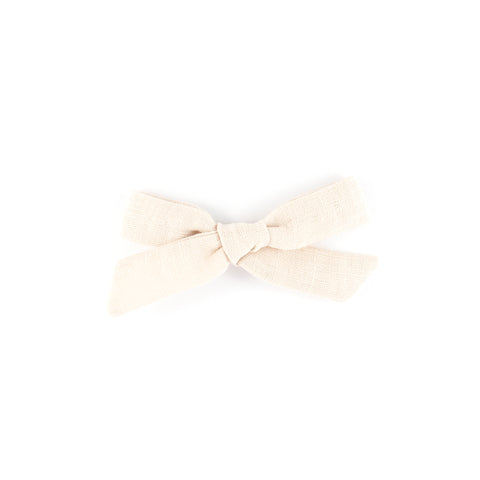 Pigtail Bow - Blush Linen