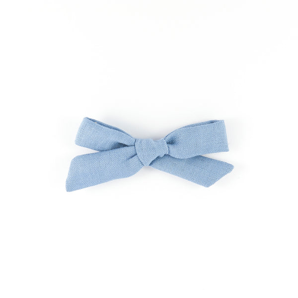 Pigtail Bow - Corflower Blue Linen