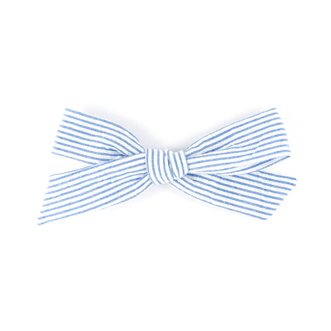 Matilda & Grace, handtied bow, blue & white striped cotton