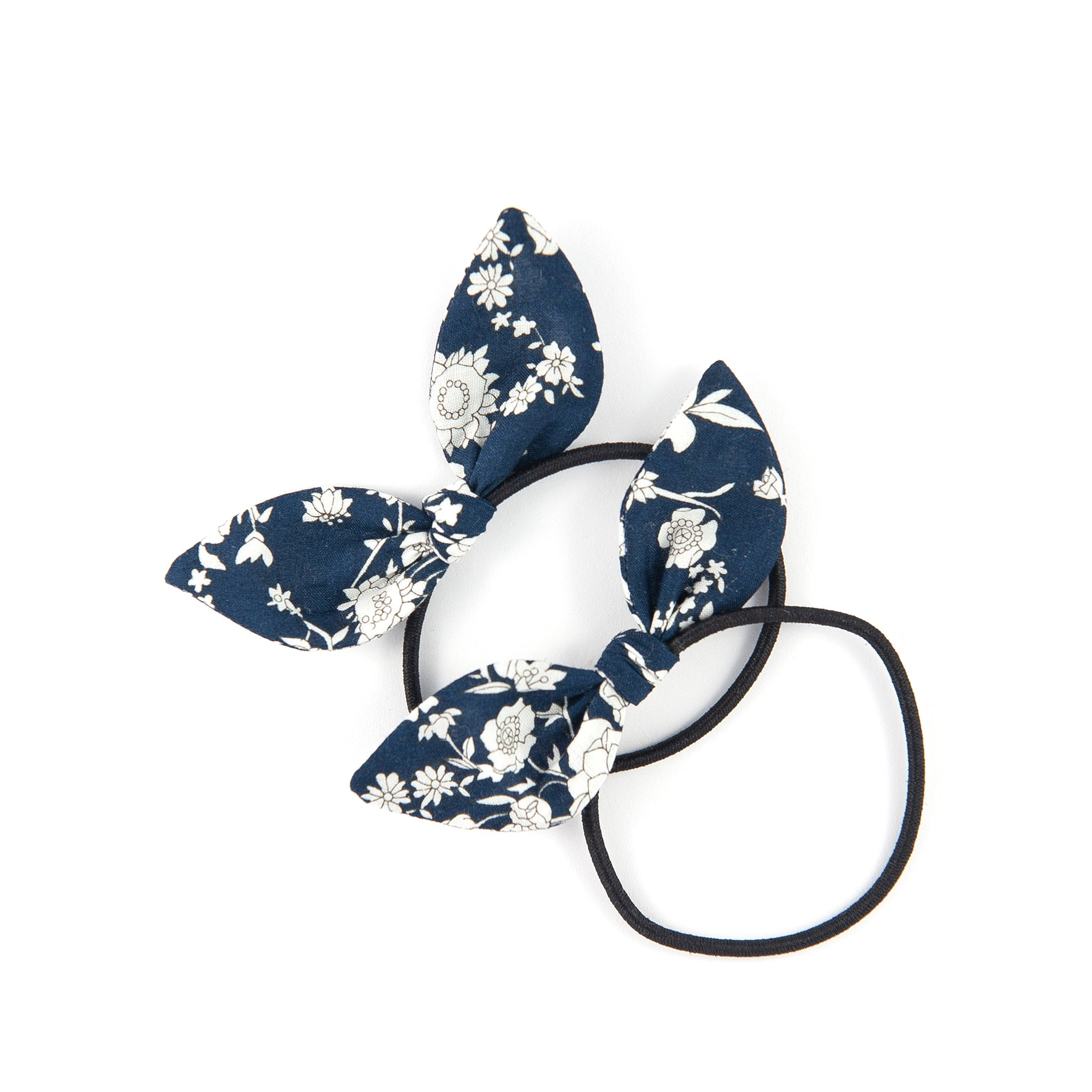 Mini Knot Bows - Navy Summer Blooms