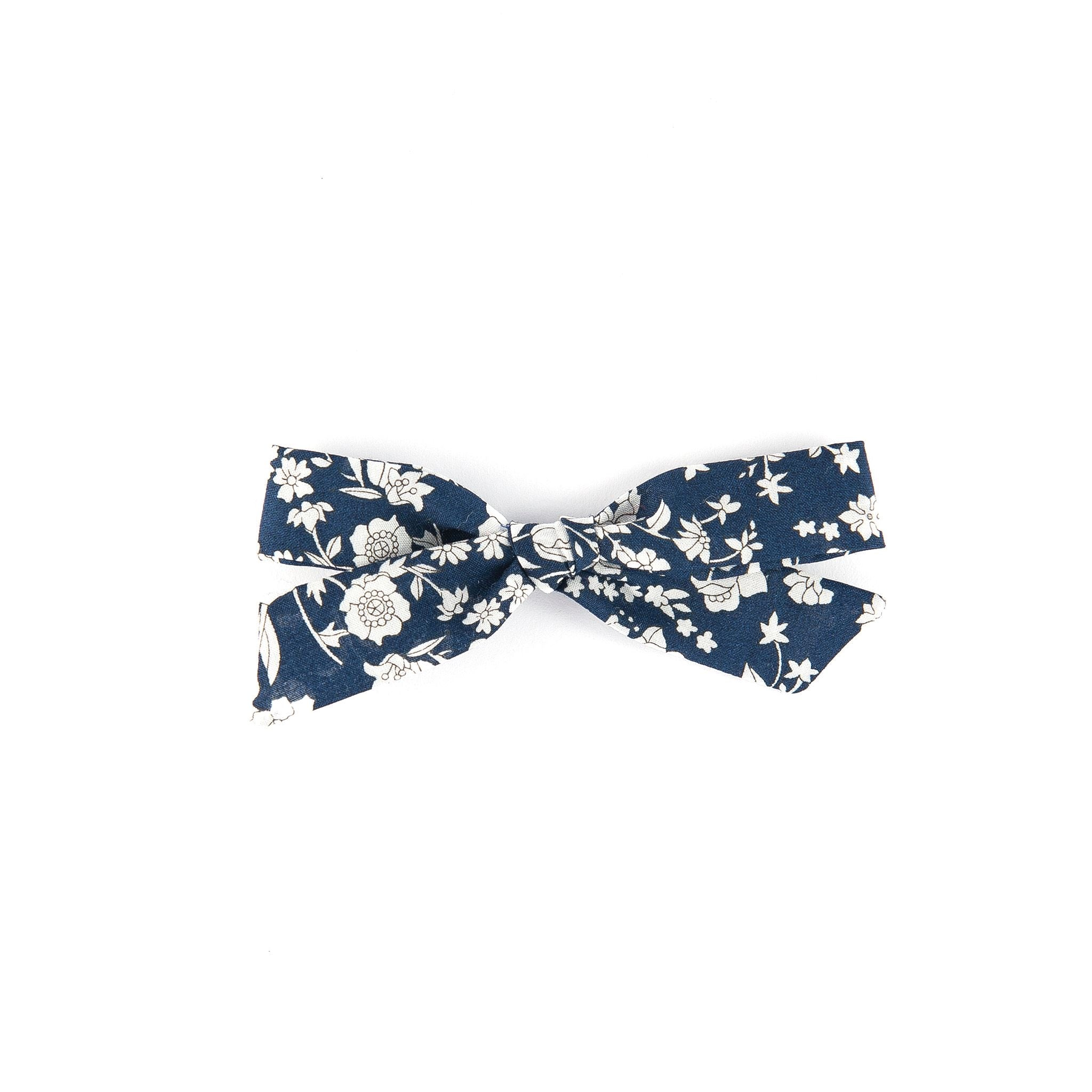 Pigtail bow - Navy Summer Bloom