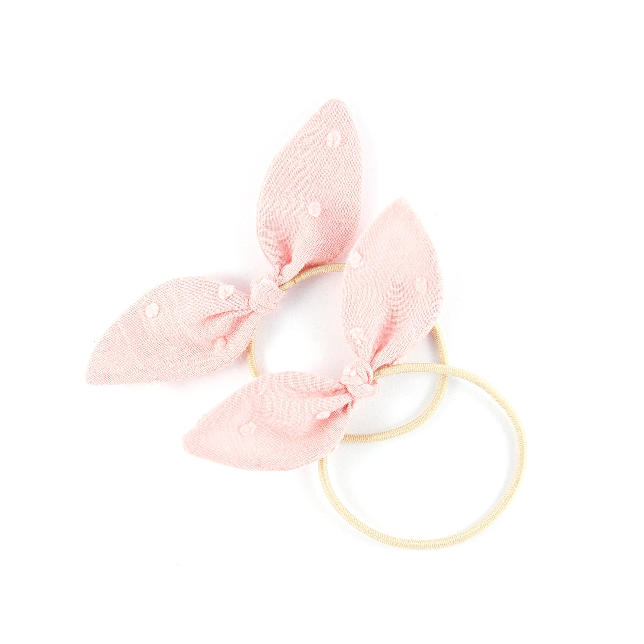 Mini Knot Bows - Dusky Pink Swiss Dot (Valentine Collection)