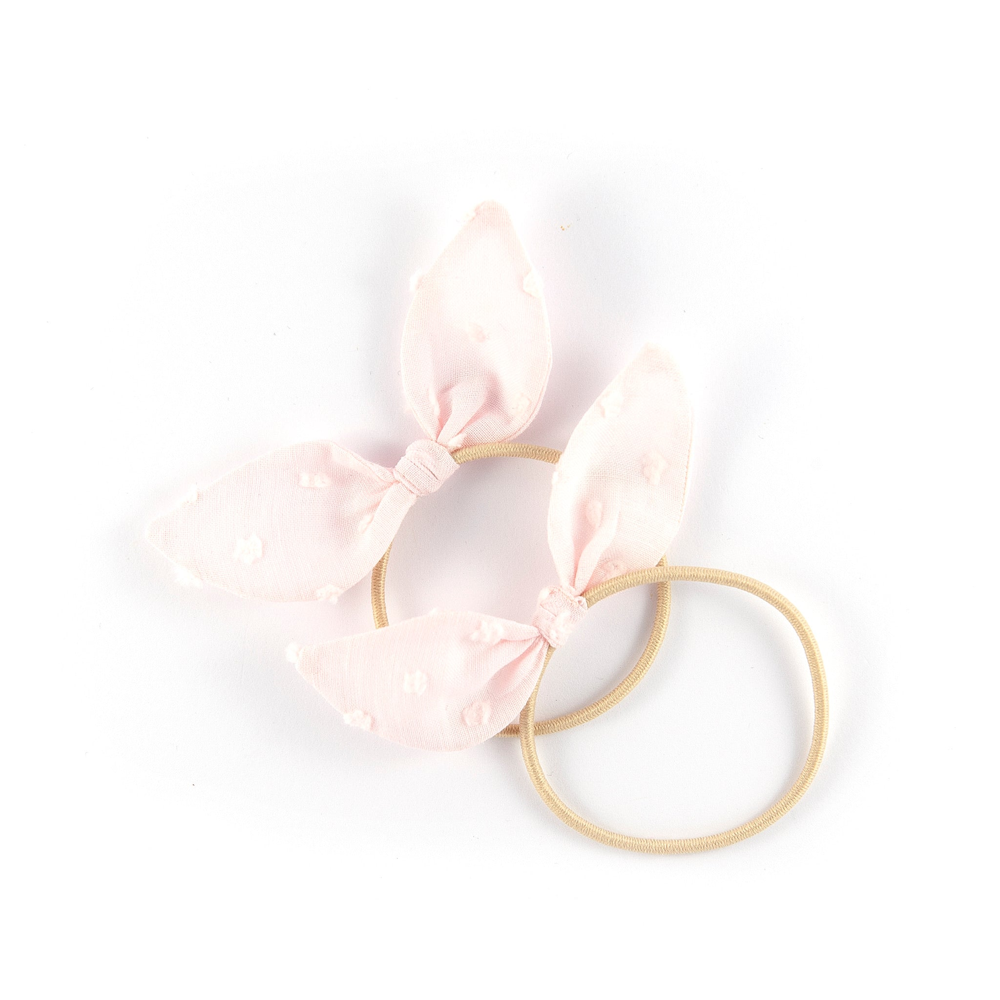 Mini Knot Bows - Pale Pink Swiss Dot (Valentine Collection)