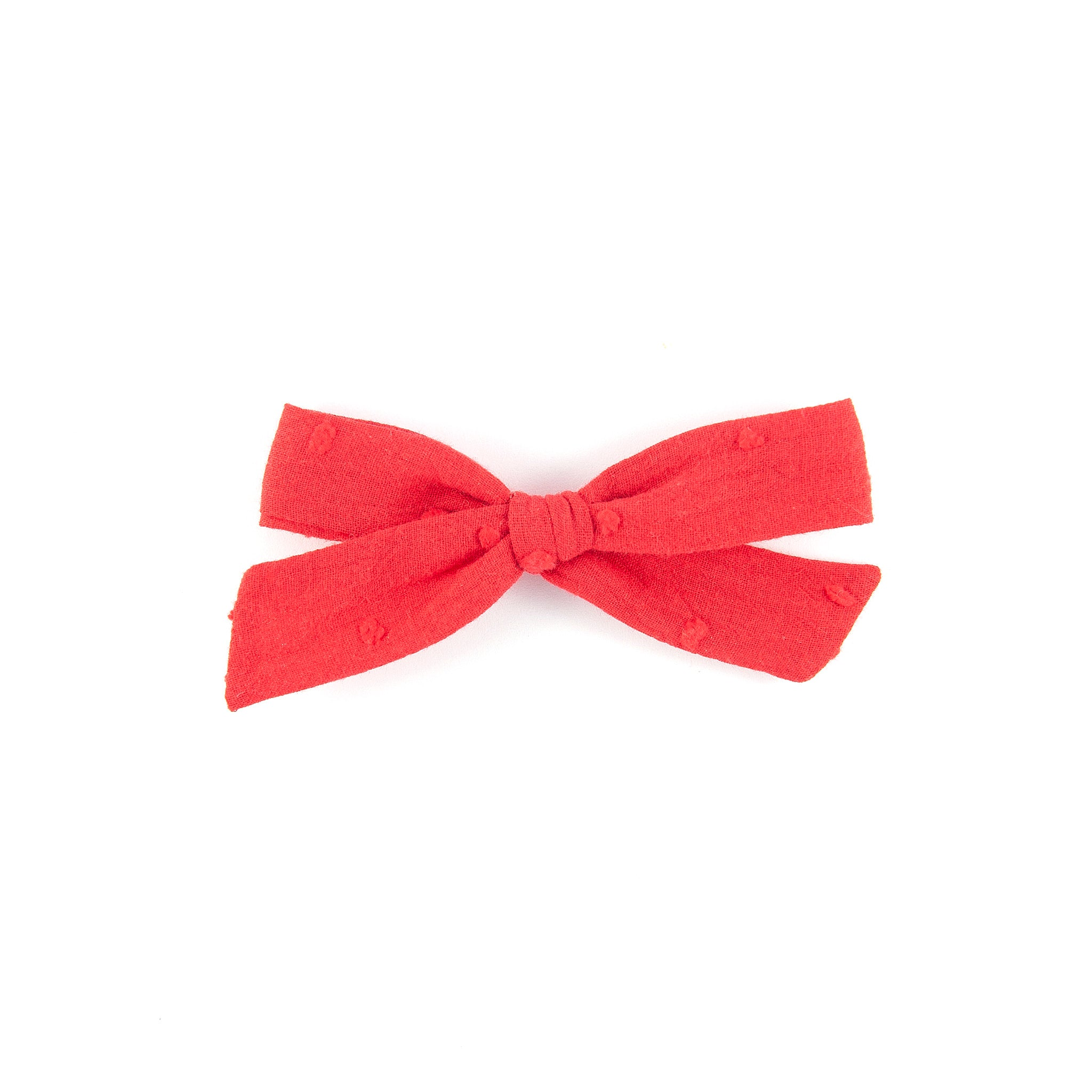 Pigtail Bow - Swiss Dot Cotton - Red (Valentine Collection)
