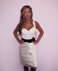 Sophisticated Satin Ivory Dress