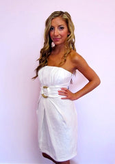 White Shimmer Dress with Gold Circle
