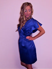 One Shoulder Bow Blue Dress