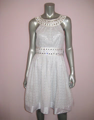 Eyelet Dress with Jeweled Neck