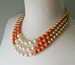 Color Block Triple Decker Necklace in Golden & Coral