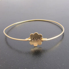 Custom Monogram Flower Bangle Bracelet