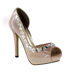 Pearlized Patent Peep Toe High Heels with Iridescent Stones