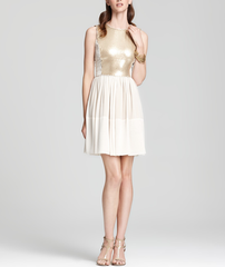 Gold Sequin Front Dress