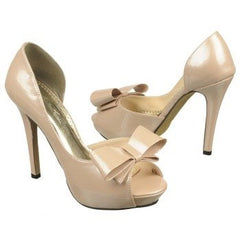 Nude Patent Bow Heels