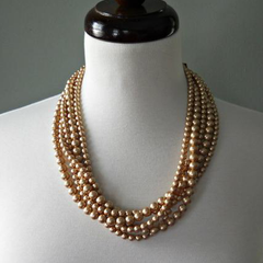 Vintage Gold Pearl Gathered Twist Necklace
