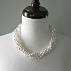 White Pearl Gathered Twist Necklace