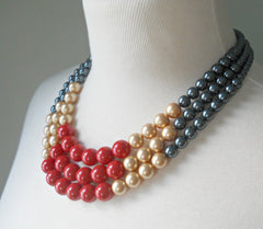 Color Block Triple Decker Necklace in Tahitian, Gold & Coral