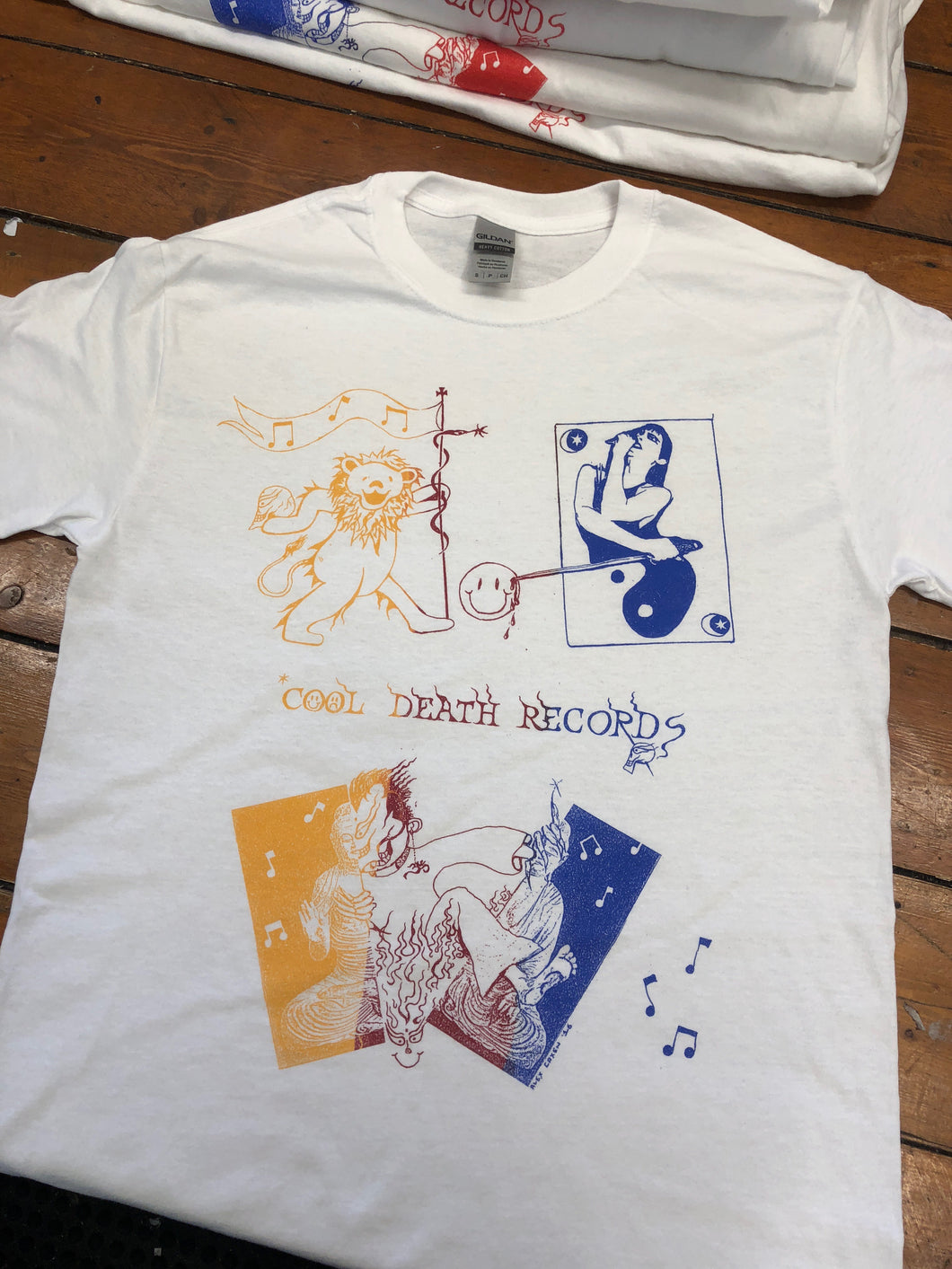 COOL DEATH SHIRT - YELLOW/MAROON/BLUE ON WHITE