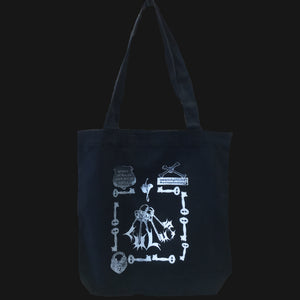 "LULU'S TOTE - ""EBONNY MUNRO"" SILVER/WHITE FADE ON BLACK"