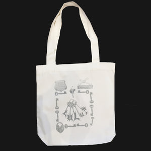 "LULU'S TOTE - ""EBONNY MUNRO"" SILVER ON WHITE"