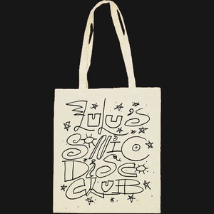 "LULU'S TOTE - ""LULU'S SONIC DISC CLUB"" BLACK ON CALICO"