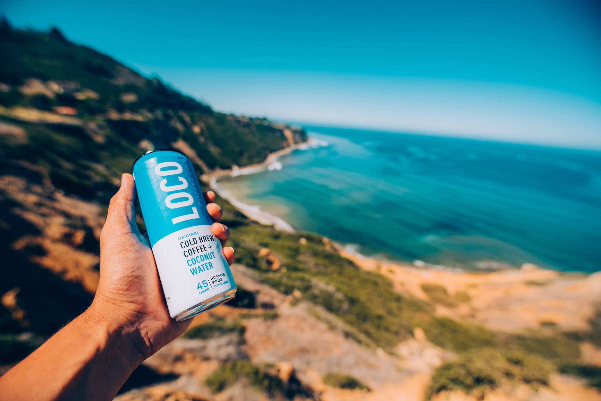 cold brew coffee with coconut water, hiking, adventure, california