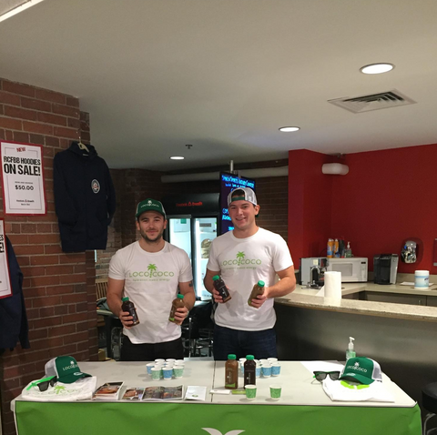Loco co-founders Dan and Sean handing out samples