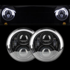 Jeep Wrangler DOT 7 Inch Half Halo Headlights