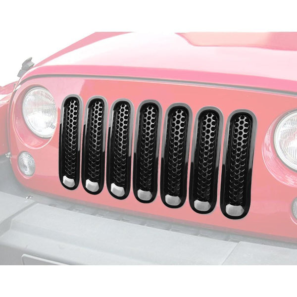 Jeep Wrangler Glossy Black Clip-in Mesh Grill Inserts
