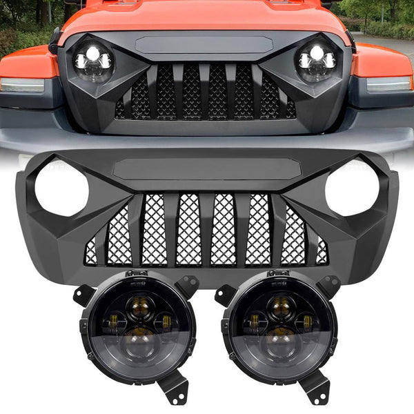 Jeep Wrangler JL Demon Grille w/ Mesh - Matte Black & Smoked Headlights Combo