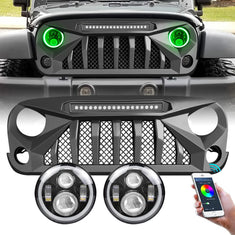 amoffroad jeep wrangler gladiator grille led off-road lights rgb halo headlights combo