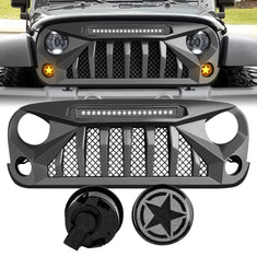 amoffroad jeep wrangler gladiator grille led off-road lights smoked star turn lights combo