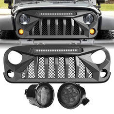 amoffroad jeep wrangler gladiator grille led off-road lights smoked turn lights combo