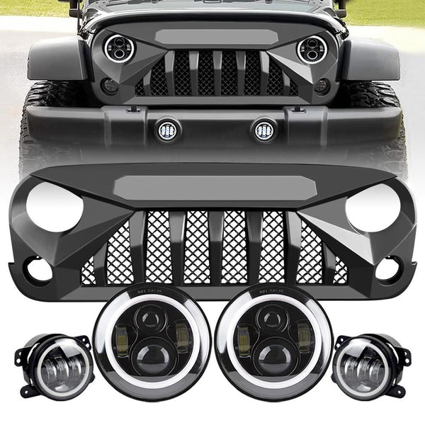 Gladiator Vader Grille & Halo Headlights & Halo Fog Lights (07-18 Wrangler JK)