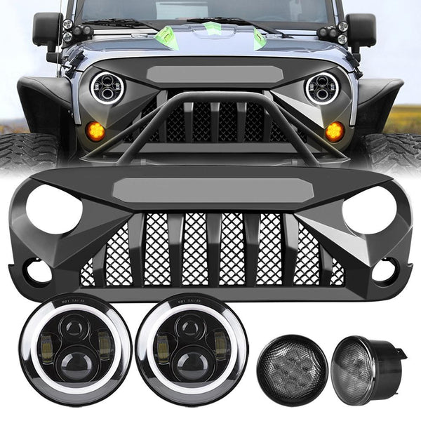 Gladiator Vader Grille & Halo Headlights & Smoked Turn Lights (07-18 Wrangler JK)