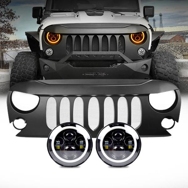 Jeep Wrangler Halo Headlights & Beast Grille