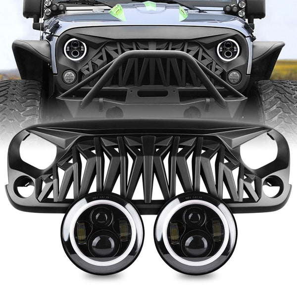 jeep wrangler shark grille & halo headlight