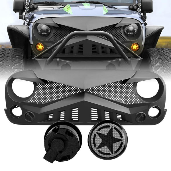 Jeep Wrangler JK Hawke Grille - Matte Black & Smoked Star Turn Lights Combo