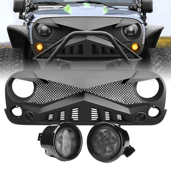 Jeep Wrangler JK Hawke Grille - Matte Black & JK Smoked Turn Lights Combo