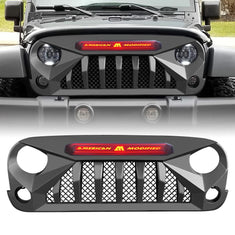 GLADIATOR GRILLE w/ brand light - Matte Black for 07-18 JEEP WRANGLER JK