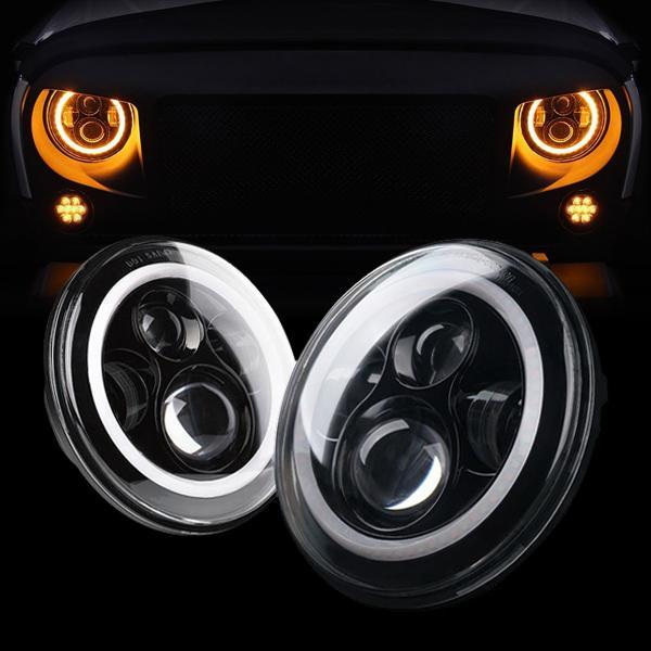 Jeep Wrangler DOT 7 Inch Black Halo Headlights