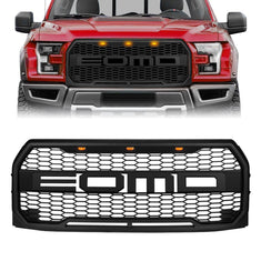 Raptor Style Front Grill Bumper Hood Mesh Grille W/LED - Matte Black (2015-2017 Ford F150)