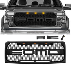Raptor Style Front Grill Hood Grille W/LED - Matte Black for 2009-2014 Ford F150