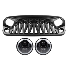 RGB Halo Headlights & Shark Grilles Combo for Jeep Wrangler JK/ JKU