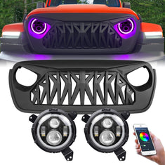 RGB Halo Headlights & Shark Grilles Combo for 18-21 Jeep Wrangler JL & Gladiator JT