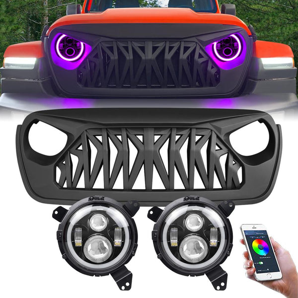 RGB Halo Headlights & Shark Grilles Combo for Jeep Wrangler JL