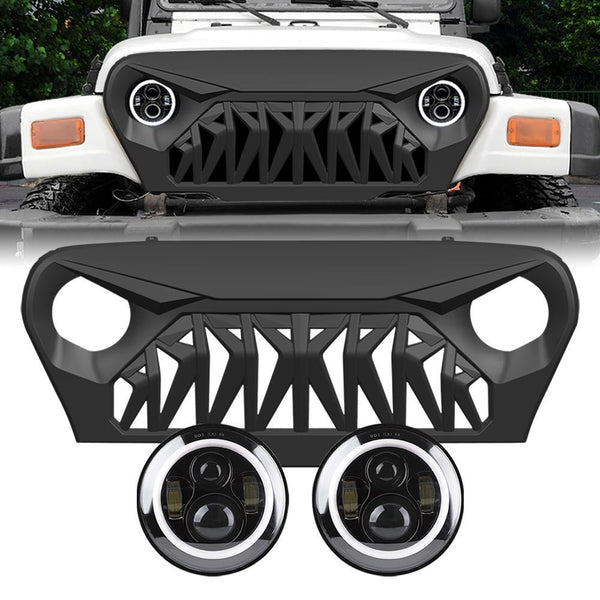 Jeep Wrangler TJ Shark Grille & Halo Headlights Combo