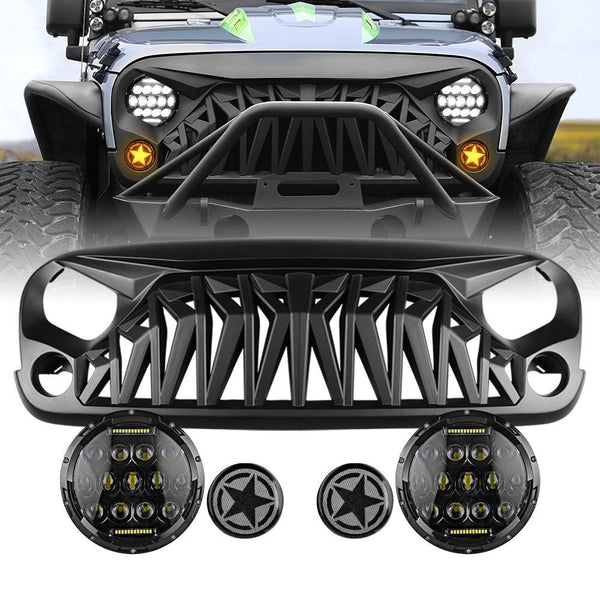 jeep wrangler shark grille & Honeycomb LED Headlights & star turn light