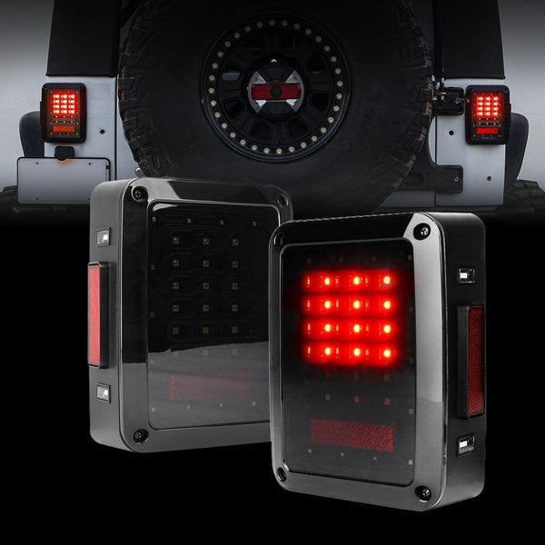 Jeep Wrangler Smoked Cover LED Tail Lights