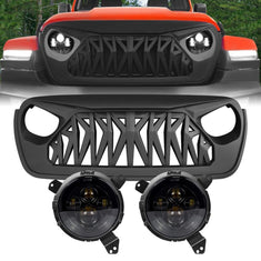 Jeep Wrangler JL Smoked Headlights & Shark Grilles Combo