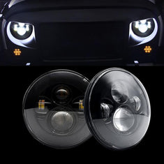 Jeep Wrangler DOT 7 Inch Smoked LED Headlights